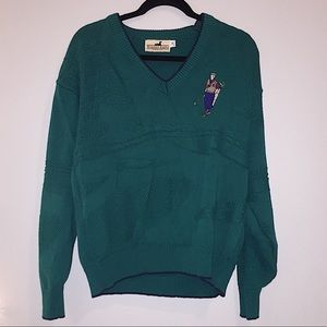 Forest green Vintage sweater; embroidered golfer